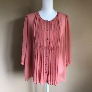 Talbots | Pink Plus-Size Top w/Front Pleats  14W